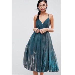 Metallic Tulle Midi Dress